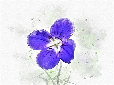 Digital Art - Blue Cranesbill by Diane Chandler