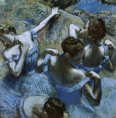 Painting - Blue Dancers By Edgar Degas, Pastel by Superstock