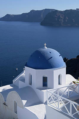 Photograph - Blue Dome Church In Santorini by Lucinda Walter