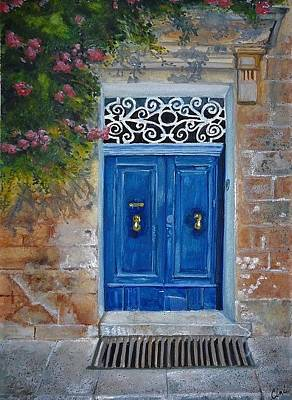 Wall Art - Painting - Blue Door Malta by Lisa Cini