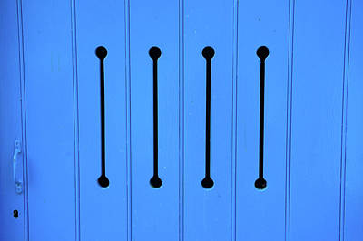 Photograph - Blue Door With Arrow Slits by Helen Northcott