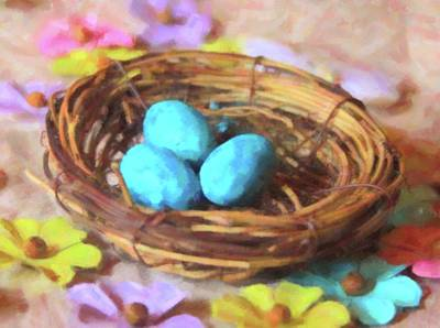 Anne Geddes - Blue Eggs In Nest by Cathy Lindsey