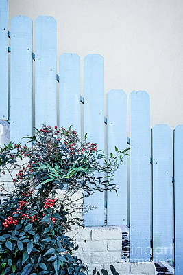Photograph - Blue Fence Adobe Home by Wendy Fielding