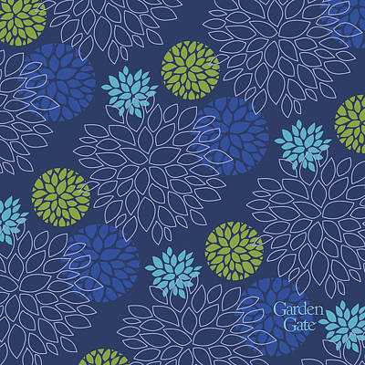 Digital Art - Blue Floral Print With Logo by Garden Gate magazine