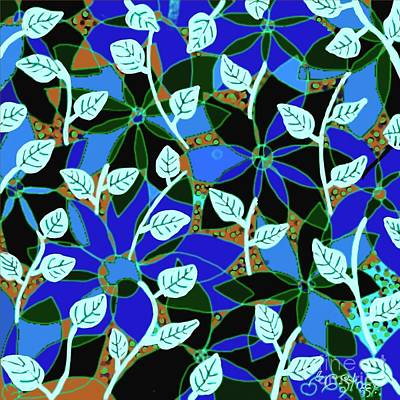 Digital Art - Blue Flower White Leaf Design by Caroline Street