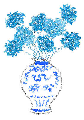 Painting - Blue Flowers In Chinese Ming Vase by Steven Clarke