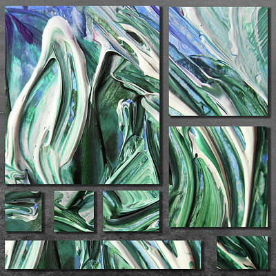 Painting - Blue Green Gray Abstract Collage by Irina Sztukowski