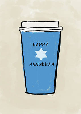 Mixed Media - Blue Hanukkah Coffee- Art By Linda Woods by Linda Woods