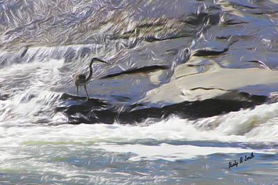 Digital Art - Blue Heron In Flowing Water. by Rusty R Smith