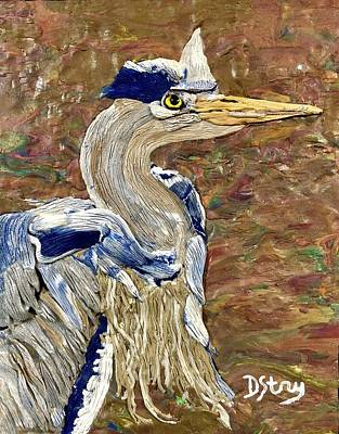 Mixed Media - Blue Herron In Amsterdam by Deborah Stanley