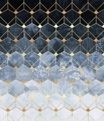 Abstract Digital Art - Blue Hexagons And Diamonds by Elisabeth Fredriksson