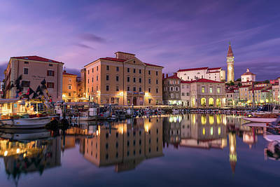 Photograph - Blue Hour in Piran by Elias Pentikis