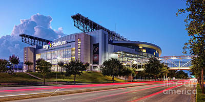 Sports Royalty-Free and Rights-Managed Images - Blue Hour Photograph of NRG Stadium - Home of the Houston Texans - Houston Texas by Silvio Ligutti
