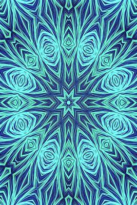 Digital Art - Blue Ice Kaleidoscope Fractal by Cindy Boyd