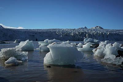 Blue Icebergs Floating Along Storm Arctic Coast Panorama Art Print