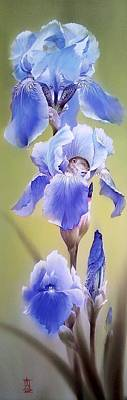 Painting - Blue Irises With Sleeping Baby Mouse by Alina Oseeva