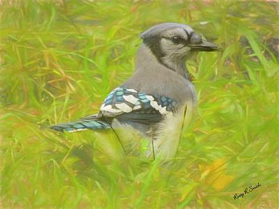 Digital Art - Blue Jay On The Ground. by Rusty R Smith