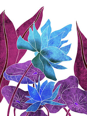 Lilies Mixed Media - Blue Lotus flower - Botanical, Floral, Tropical Art - Modern, Minimal Decor - Blue, Purple, Indigo by Studio Grafiikka
