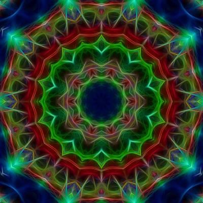 Digital Art - Blue Lotus Kaleidoscope by Cindy Boyd