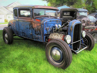 Photograph - Blue Model A Ford Patina Rod by David King
