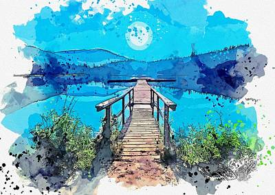 Royalty-Free and Rights-Managed Images - Blue Moon over Lost Lake Trail, Whistler, Canada -  watercolor by Ahmet Asar by Ahmet Asar