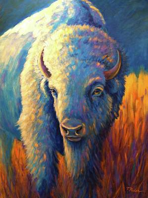 Wall Art - Painting - White Buffalo, Blue Moon by Theresa Paden