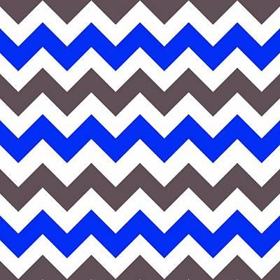 Digital Art - Blue Nebulas And Grey Zigzag Chevron Pattern by Taiche Acrylic Art