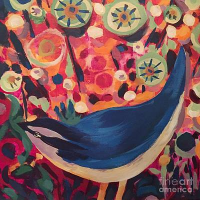 Painting - Blue Nuthatch Bird by Tonya Henderson