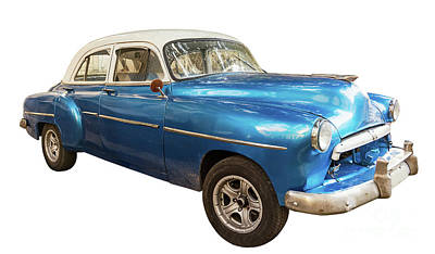 Typographic World Royalty Free Images - Blue, old and american car Royalty-Free Image by Angelo D