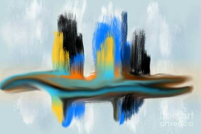 Digital Art - Blue Orange Black Tan Drag Abstract Digital Painting By Delynn Addams by Delynn Addams