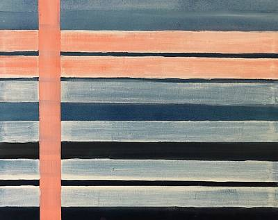 Painting - Blue Peachy Stripes by Christina Schott