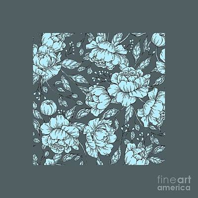 Digital Art - Blue Peonies by Jessie Art