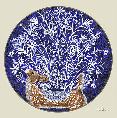 Mixed Media - Blue Period Art Featuring A Fawn by Lise Winne
