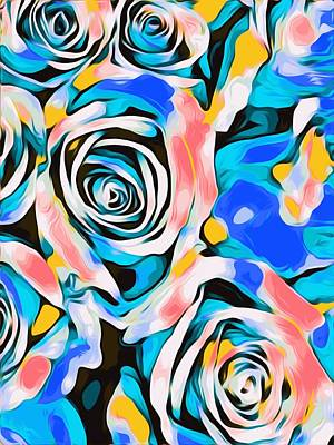 Purely Purple - Blue Pink White And Yellow Roses Texture Background by Tim LA