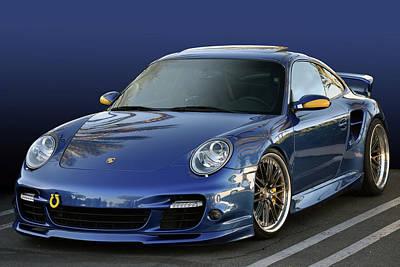 Photograph - Blue Porsche by Bill Dutting