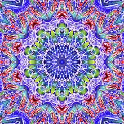 Digital Art - Blue Red Kaleidoscope by Cindy Boyd