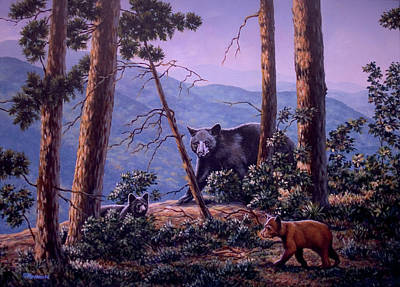 Painting - Blue Ridge Bears by Richard De Wolfe
