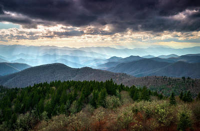 Photograph - Blue Ridge Mountains Asheville Nc Scenic Light Rays Landscape Photography by Dave Allen