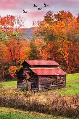Photograph - Blue Ridge Smoky Mountain Barn by Debra and Dave Vanderlaan