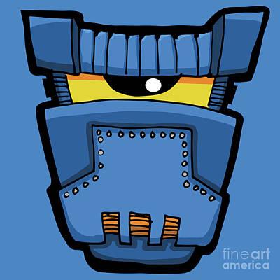 Digital Art - Blue Robot Head 05 by Sean McMenemy