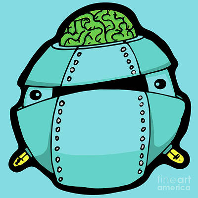 Digital Art - Blue Robot Head 9 by Sean McMenemy