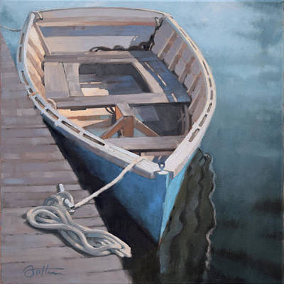 Skiff Wall Art - Painting - Blue Rowboat by Todd Baxter