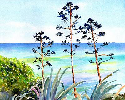 Painting - Blue Sea And Agave by Carlin Blahnik CarlinArtWatercolor