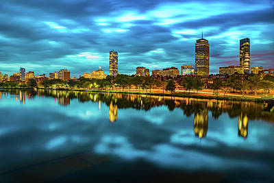Royalty-Free and Rights-Managed Images - Blue Skies Over Boston and Charles River by Gregory Ballos