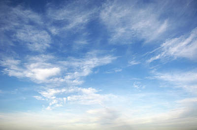Landscape Photograph - Blue Sky With Fluffy Clouds by Acilo