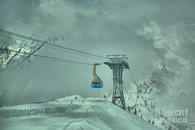 Photograph - Blue Tram Car In The Clouds by Adam Jewell