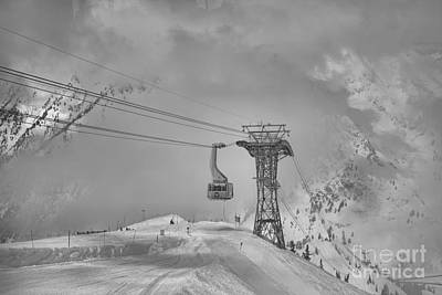 Photograph - Blue Tram Cat In The Clouds Black And White by Adam Jewell