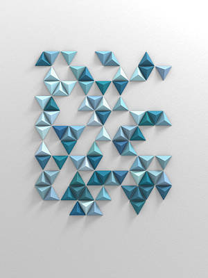 Jacob Kuch Vintage Art On Dictionary Paper - Blue Triangles by Scott Norris