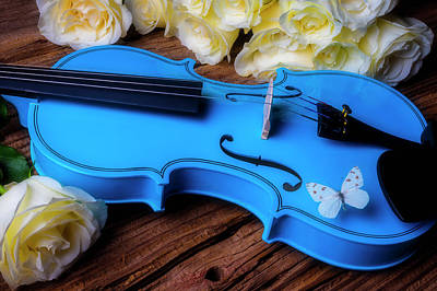 Photograph - Blue Violin And White Butterfly by Garry Gay
