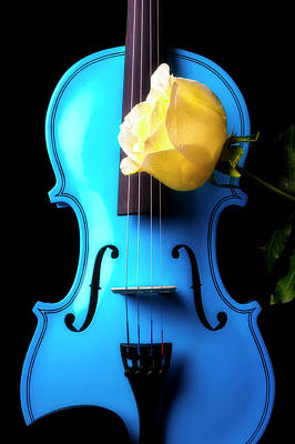 Photograph - Blue Violin And White Rose by Garry Gay